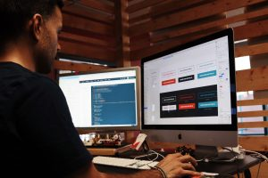 web designer designing a site